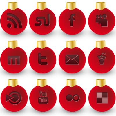 социальные иконки в виде новогодних шариков