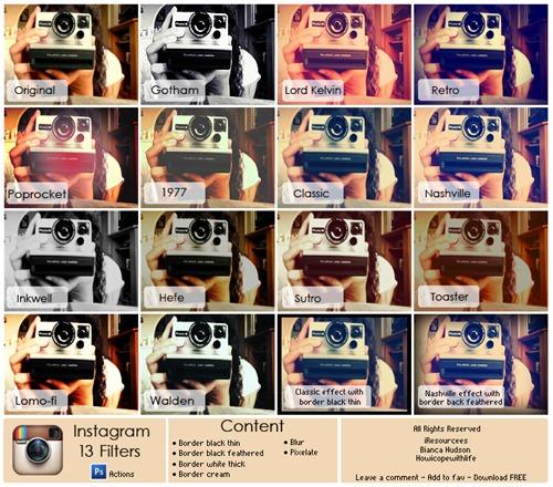 Фильтры instagram  для photoshop