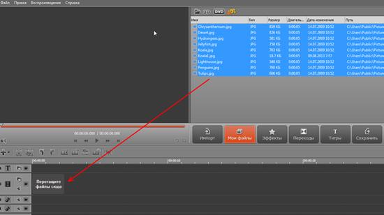 создание слайдшоу Movavi Video Editor