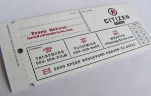 Оригинальная визитная карточка в виде билета