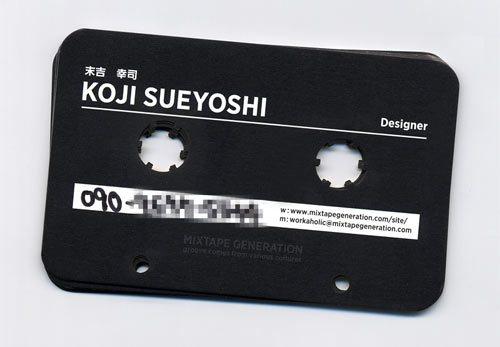 визитная карточка в форме кассеты