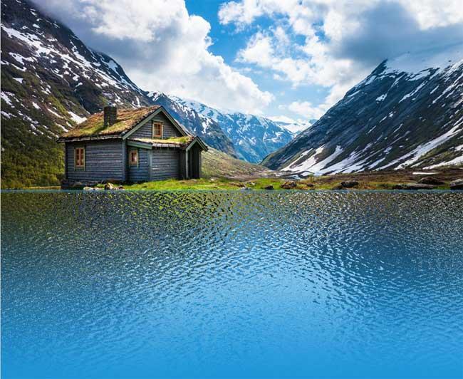 отражение в воде Photoshop