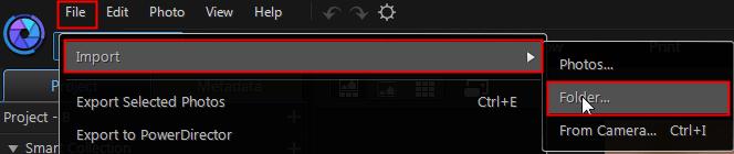 Импортировать файлы в Photodirector