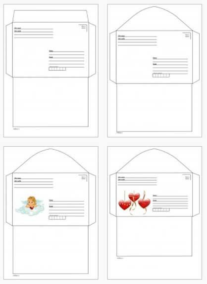 пустые шаблоны конвертов