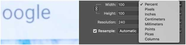 изменение размера изображения в процентах, пикселях, дюймах, сантиметрах