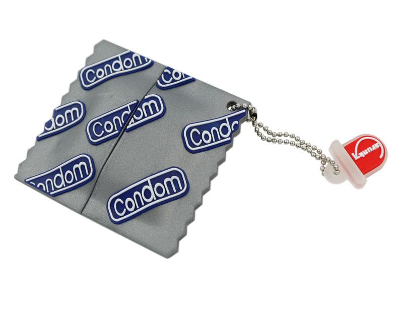 Флешка в виде упаковки от презерватива